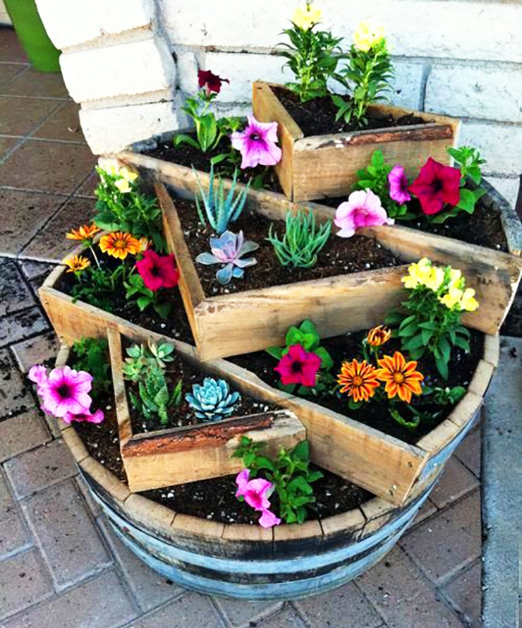 circular tierd barrel planter garden for apartment patio
