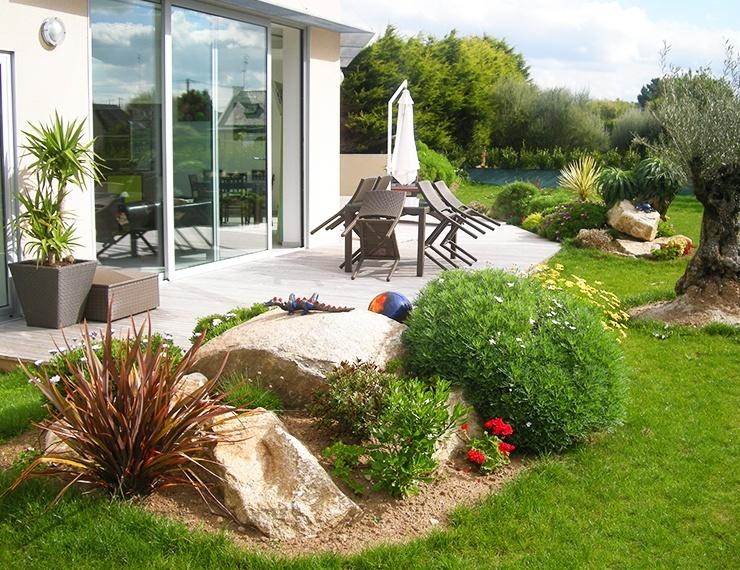 classy apartment rock garden