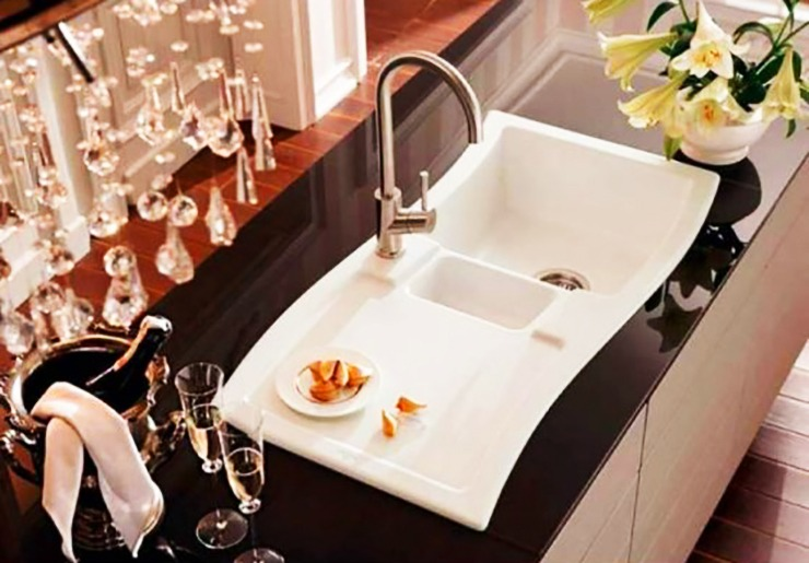 classy kitchen sink with wash and rinse sides