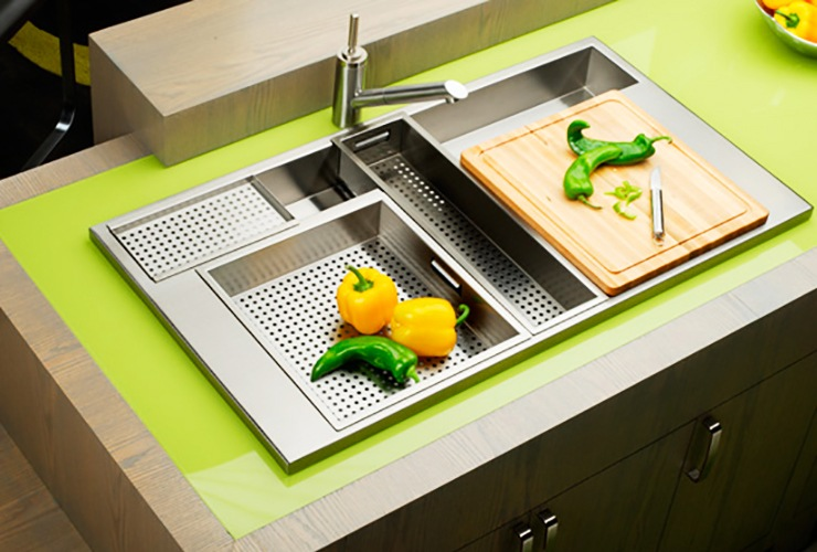 cooking kitchen sink with sliding trays
