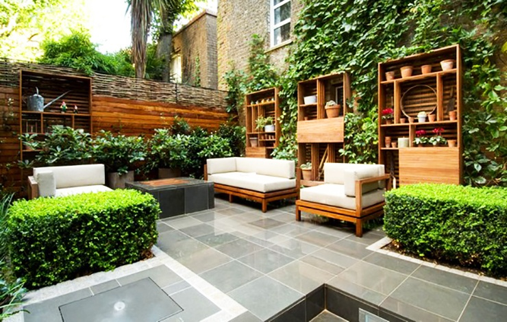 expensive modern apartment garden on patio