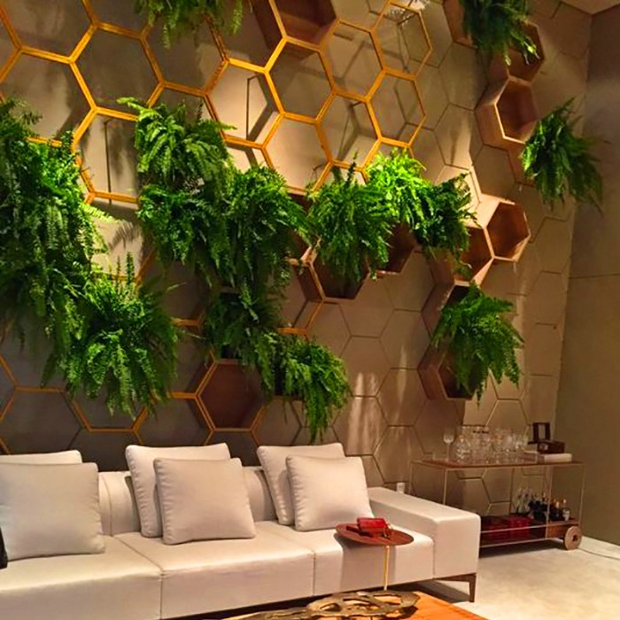 fern garden in hex grid apartment wall decoration