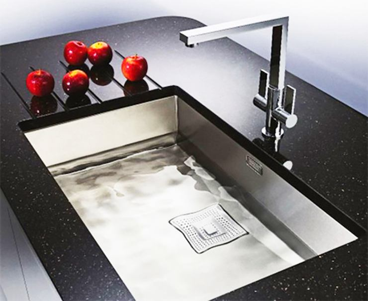 large shallow modern kitchen sink