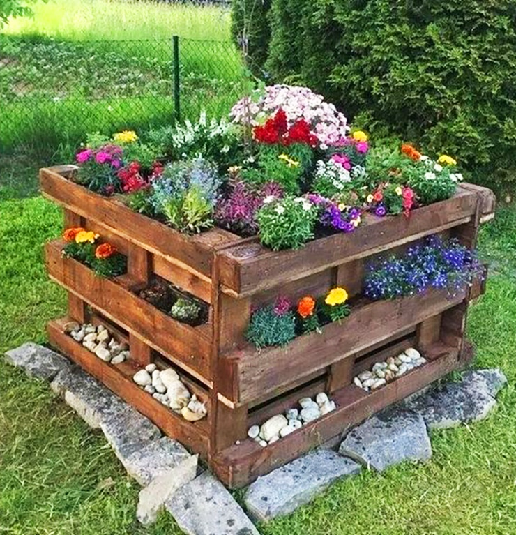 outdoor square tiered garden planter for apartment