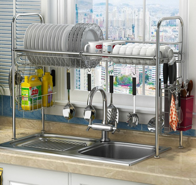 standard stainless kitchen sink with storage