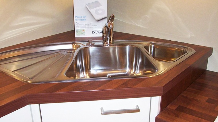 triple corner kitchen sink with tray