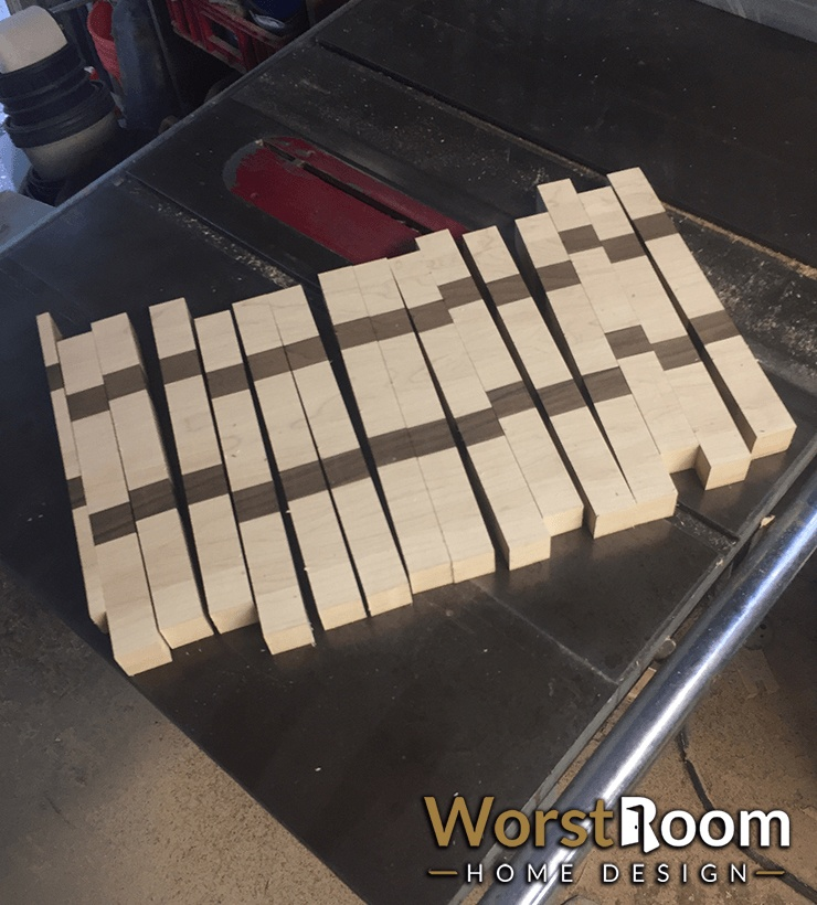 cut cutting board planks in opposite direction