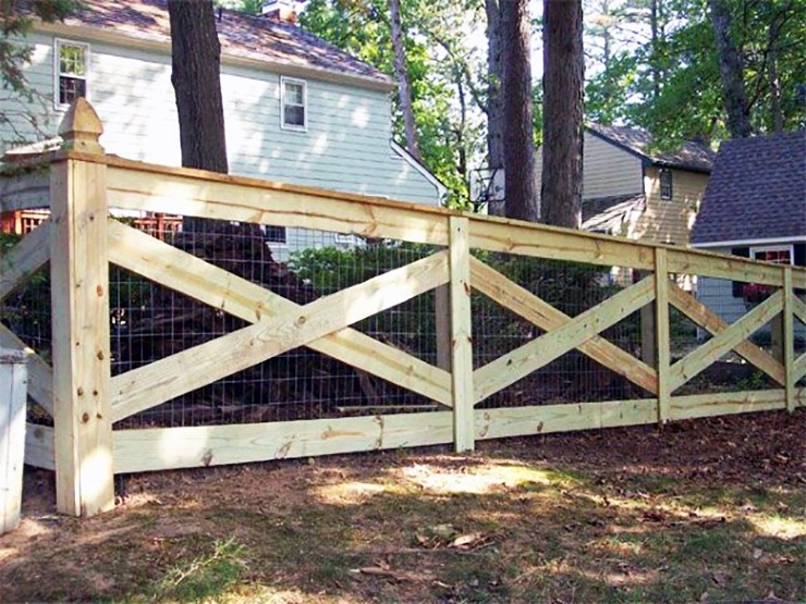 low cost wood fence with chicken wire
