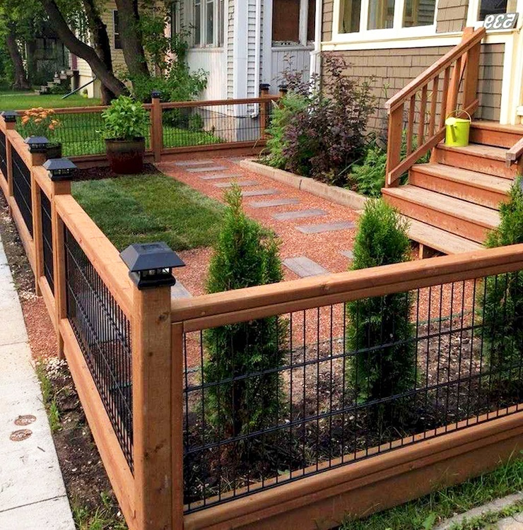 low height iron and wood fence