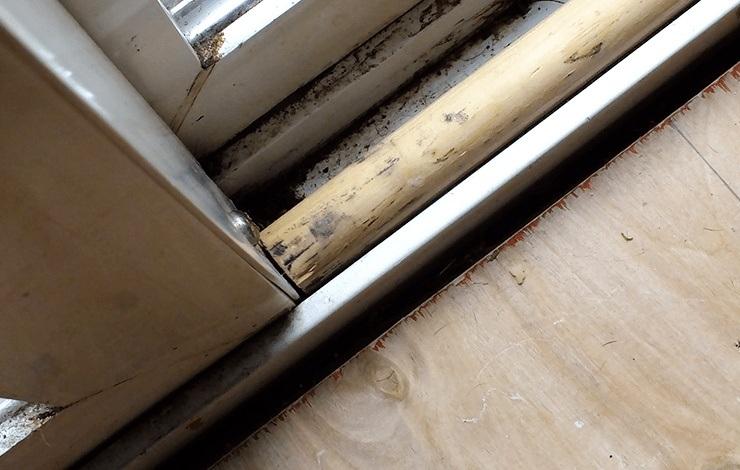 dowel in sliding door track