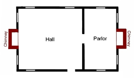 house styles - hall and parlour house floor plan
