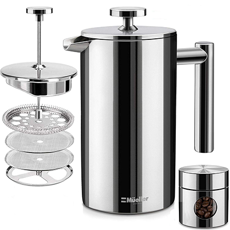 mueller french press stainless steel types of coffee makers
