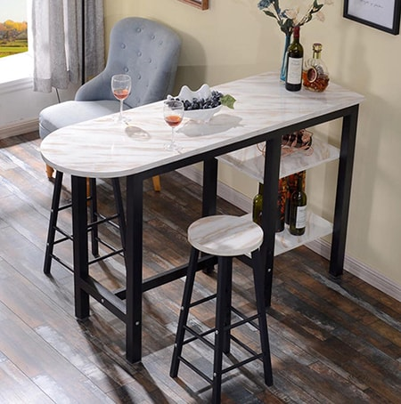 bar tables are for sitting upright on stools and enjoying a beverage and a conversation with a friend or spouse