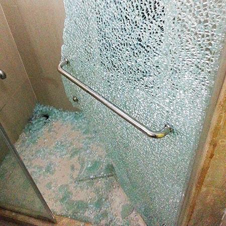 broken glass shower door