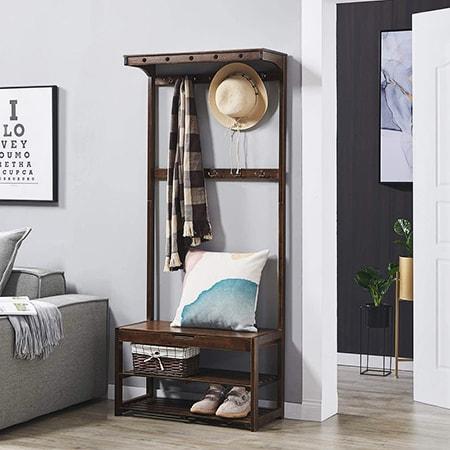 coat rack shoe bench in bedroom as a closet alternative