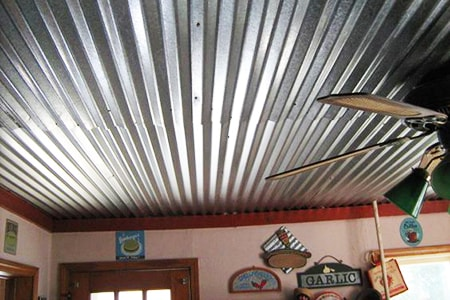 corrugated metal on ceiling