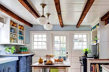 faux wood beams on ceiling