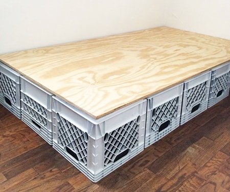 milk crate bed platform are great box spring alternatives