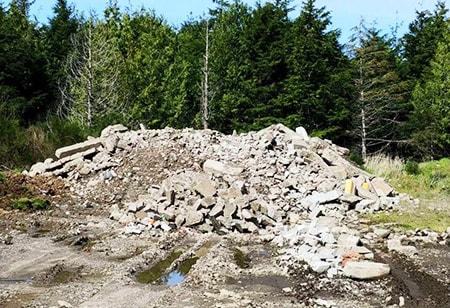 recycled concrete debris