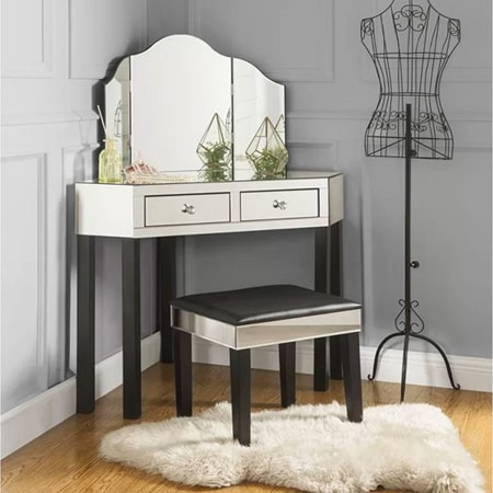 vanity tables hold commonly used items like wallets, watches, jewelry, make-up, and often feature mirrors
