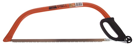 """bow saws are similar to hand saws but provide more stability thanks to the metal frame which is called the """"bow"""""""