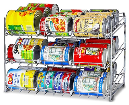 These canned good organizers work well for accessing and keeping inventory of your prepper food supply