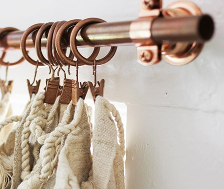 copper pipes are creative curtain rods