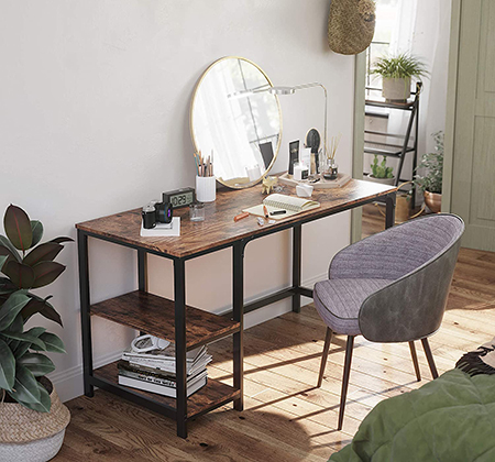 a credenza desk will contain shelving like a cupboard, but to hold a printer, computer, documents, etc.