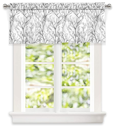 black and white floral pattern curtain valence