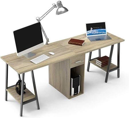 dual sided desks accommodate two users side by side. they take up a lot of space but are great for couples during entertainment time or study time