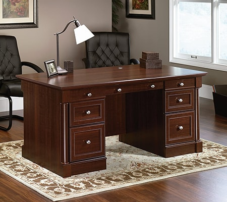 executive desks are meant to be situated in the center of a room to command respect and authority