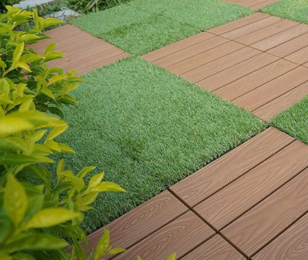 interlocking grass deck tiles look amazing and bring color to your outdoors area