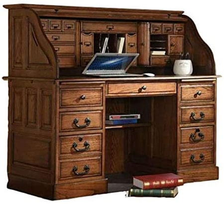 rolltop desks are an old style of desk that have a closing lid to offer you privacy and security