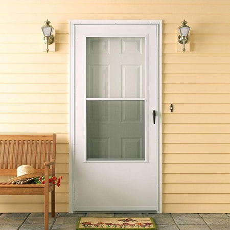 storm doors are great alternatives to screen doors and have window screen alternatives that you can open