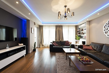 how to decorate a tray ceiling like using lighting fixtures and LED lighting strips