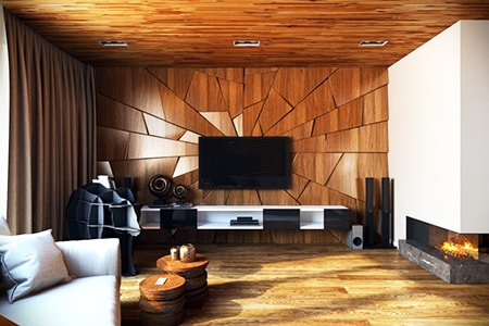 textured paneling in living rooms help scatter light and sound and make a room feel more lively and interesting to help people relax and enjoy cozy conversations