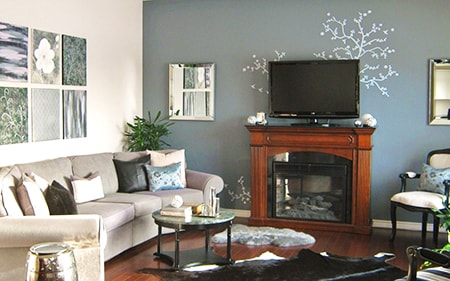a great cozy living room idea is to use accent walls or two-tone walls when painting