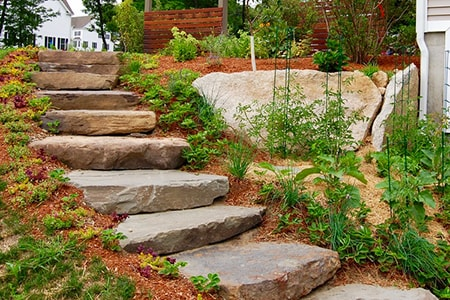 building natural stone steps bottom to top