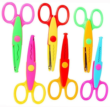 decorative scissors are scissor types with designs built into the blades so that the cuts create patterns