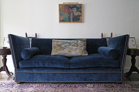 knole sofa designs have straight backs that require pillows to be used to lean back on