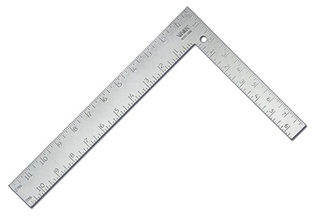 The L-square is used for framing and especially for measuring stairs and ensuring they're flat and at right angles