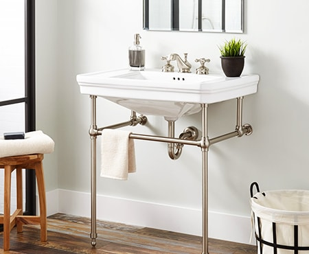 a console bathroom sink basin is very much like a wall mount type but features supports underneath so it can hold more weight