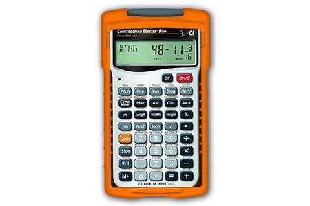 a construction calculator is a not only a very sturdy calculator that won't break easily out on the work site but it has built in functions that help with measuring stairs