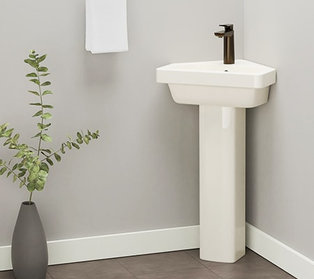 the corner basin bathroom sink types are just like pedestal sinks except they can be situated in the corner of a small bathroom saving even more space