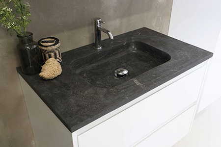the semi-recessed types of bathroom sinks are built into the entire top of the counter as part of it seamlessly