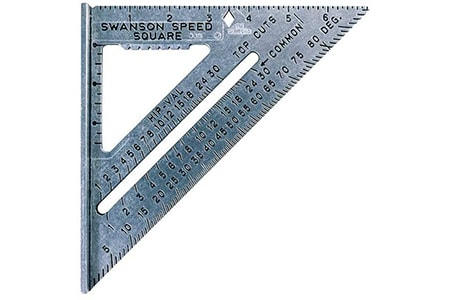 a construction square and especially a speed square helps not only measure stair treads but also helps with achieving perfect right angles