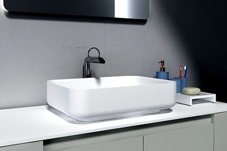 A table-top sink is very similar to the vessel bathroom sink basin types in that they're on top of the counter but these are usually square or rectangle in shape