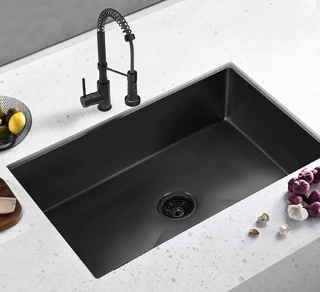 An undermount sink are among the most common bathroom sink types along with the topmount style