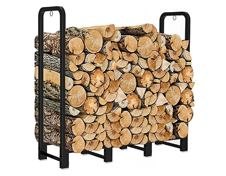firewood log rack stand are important outdoor fire pit tools and accessories to stack your wood and keep it dry so it's ready to burn
