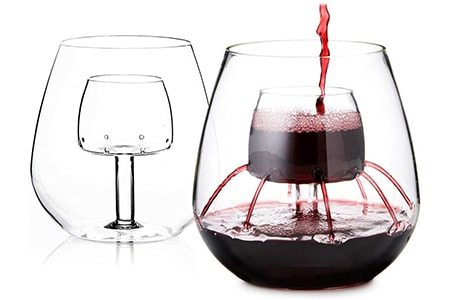 aerating wine glass is one of the craziest wine glass shapes